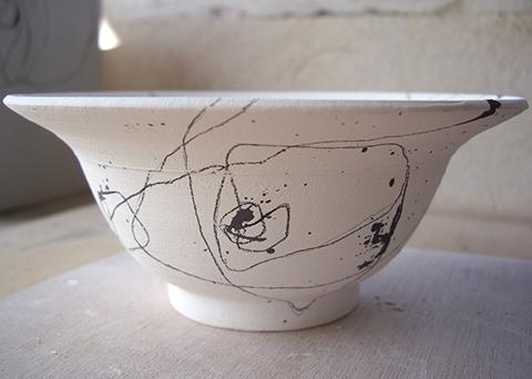 Dessin sur porcelaineen partenariat avec Christine Macé