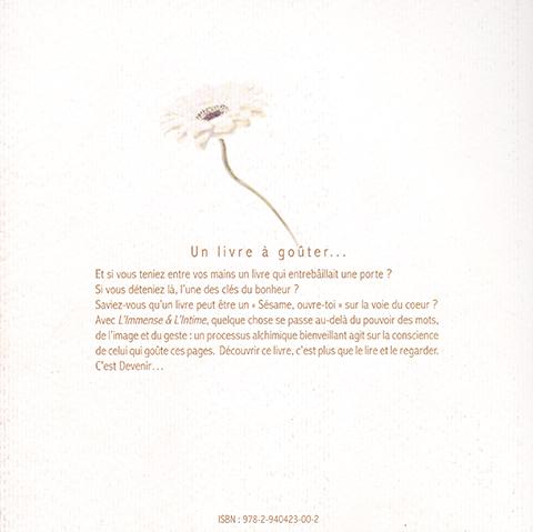 Livre de photographies«L'immense et l'intime»Photographies : Jacques PolonyCalligraphies : Kitty SabatierDos de couverture